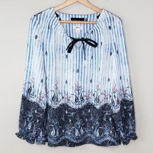 Style & Co Stripes & Paisley Tie Neck Blouse